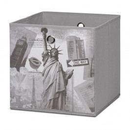 Úložný box 32x32 cm v šedé barvě s potiskem světoznámých památek DO061