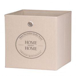 Úložný box 32x32 cm v béžové barvě s potiskem Home Sweet Home DO061
