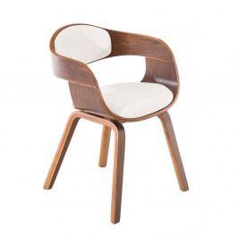 Jídelní židle s čalouněním v bílé ekokůži s dřevěnou konstrukcí v dekoru ořech SET 2 ks DO055