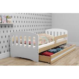 Dětské postel v kombinaci dekoru borovice a bílé barvy s úložným prostorem 80x160 cm F1414