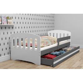 Dětské postel v kombinaci bílé a grafit barvy s úložným prostorem 80x160 cm F1414