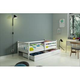 Dětská postel s úložným prostorem a matrací v bílé barvě 80x190 cm F1419