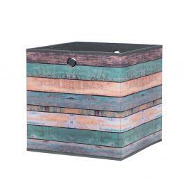Úložný box 32x32 cm s potiskem vícebarevného dřeva DO061