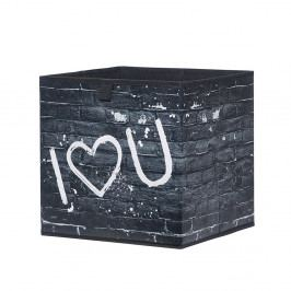 Úložný box 32x32 cm v černé barvě s bílým potiskem I love you DO061