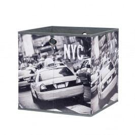 Úložný box 32x32 cm v černobílé barvě s potiskem taxi v New Yorkru DO061