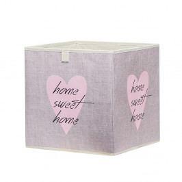 Úložný box 32x32 cm ve starorůžové barvě s potiskem srdce s nápisem DO061