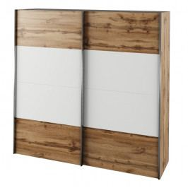 Skříň s posuvnými dveřmi, dub wotan / bílá, GABRIELA