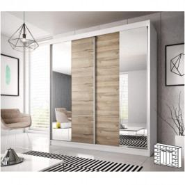 Skříň s posuvnými dveřmi, dub grandson / bílá, 233x218, MULTI 34