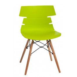 Jídelní plastová židle v zelené barvě na dřevěné podnoži DO049