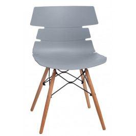 Jídelní plastová židle v šedé barvě na dřevěné podnoži DO049