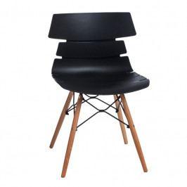 Jídelní plastová židle v černé barvě na dřevěné podnoži DO049