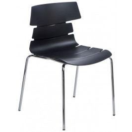 Jídelní plastová židle v černé barvě na kovové podnoži DO049