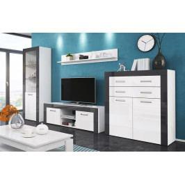 Obývací sestava v bílém lesku v kombinaci s barvou grafit KN1090