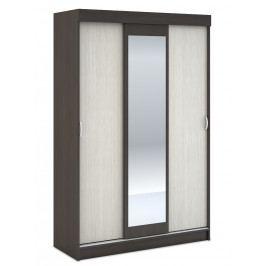 Šatní skříň 130 cm s policemi a zrcadlem v kombinaci dub belfort a wenge KN700 3D WK-551