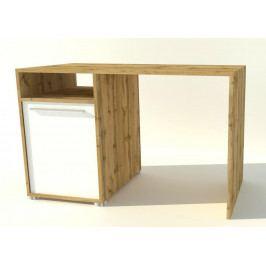 Pracovní stůl 139x60 cm s dvířky v bílé matné barvě s korpusem dub wotan typ 88 KN1094