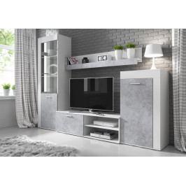 Obývací stěna v bílé a betonové barvě KN1095