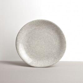MIJ Velký kulatý talíř 26 x 24 cm bílo-šedý