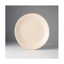 MIJ Kulatý talíř s nepravidelným okrajem 24 x 25 cm pískový