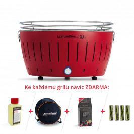 LotusGrill XL Bezkouřový gril na dřevěné uhlí, červený, velký Lotus Gril DK-AN
