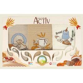 Forbyt , Dárkové balení 3 ks bavlněných utěrek, Pečivo béžovo-smetanové, 50 x 70 cm