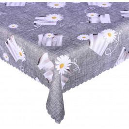 Forbyt, Ubrus s nešpinivou úpravou, Moderní kopretina, šedý 120 x 160 cm