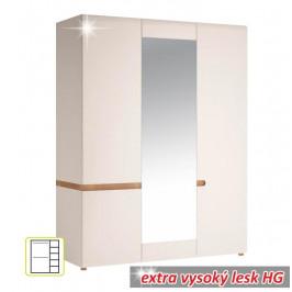 Skříň, bílá extra vysoký lesk HG / dub sonoma tmavý truflový, LYNATET TYP 22 0000042359 Tempo Kondela