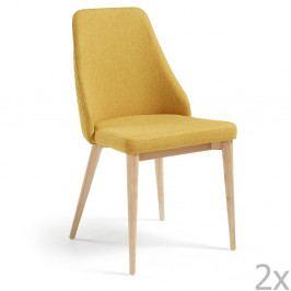 Sada 2 hořčicově žlutých jídelních židlí La Forma Roxie