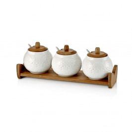 Sada 3 porcelánových dóz s dřevěným tácem a lžičkami Paul, 33x1113cm