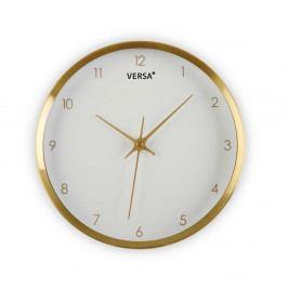 Bílé hodiny s rámem ve zlaté barvě Versa Runna, ⌀ 25,8 cm
