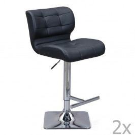 Sada 2 černých barových židlí Interlink Escondido