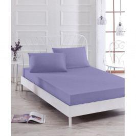 Set fialového elastického prostěradla a2povlaků na polštáře na jednolůžko Basso Purple, 160 x 200 cm