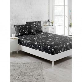Set černého elastického prostěradla apovlaku na polštář na jednolůžko Starry Night, 100 x 200 cm