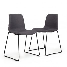 Sada 2 tmavě šedých židlí Garageeight Forett U
