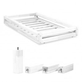 Set bílé zásuvky pod postel a 4 prodloužených nohou Benlemi,propostel90x200cm