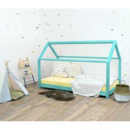 Tyrkysová dětská postel bez bočnic ze smrkového dřeva Benlemi Tery, 120 x 200 cm
