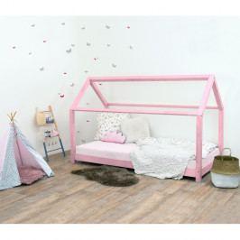 Růžová dětská postel bez bočnic ze smrkového dřeva Benlemi Tery, 90 x 200 cm