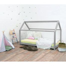 Šedá dětská postel bez bočnic ze smrkového dřeva Benlemi Tery, 90 x 160 cm