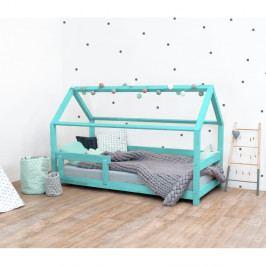 Tyrkysová dětská postel s bočnicemi ze smrkového dřeva Benlemi Tery, 90 x 200 cm