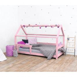 Růžová dětská postel s bočnicí ze smrkového dřeva Benlemi Tery, 80 x 160 cm