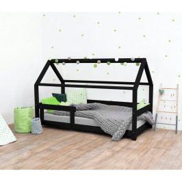 Černá dětská postel s bočnicí ze smrkového dřeva Benlemi Tery, 90 x 200 cm