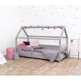 Šedá dětská postel s bočnicemi ze smrkového dřeva Benlemi Tery, 120 x 190 cm
