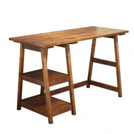 Hnědý pracovní stůl z borovicového masivu Perla