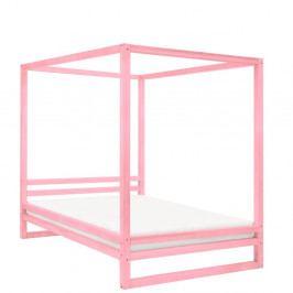 Růžová dřevěná dvoulůžková postel Benlemi Baldee, 200x190cm