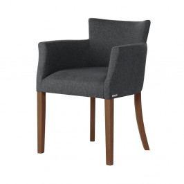 Antracitově šedá židle s tmavě hnědými nohami z bukového dřeva Ted Lapidus Maison Santal
