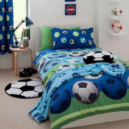Dětské modré povlečení Catherine Lansfield Football, 135x200cm