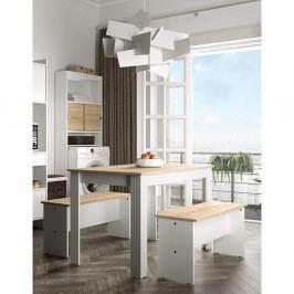 Set bílého jídelního stolu a 2 lavic s deskou v dekoru bukového dřeva Symbiosis Nice