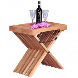 Skládací stolek z masivního akáciového dřeva se snímatelnou deskou Skyport Leandra