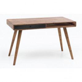 Pracovní stůl s černou zásuvkou z masivního sheeshamového dřeva Skyport REPA, 117 x 60 cm