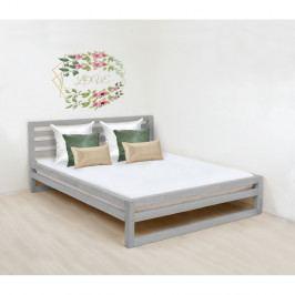Šedá dřevěná dvoulůžková postel Benlemi DeLuxe, 200x200cm