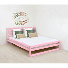 Růžová dřevěná dvoulůžková postel Benlemi DeLuxe, 190x160cm